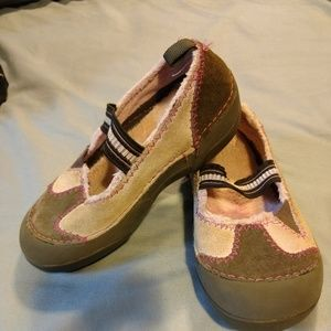 Girls pink and grey leather slip-on Crocs size 11